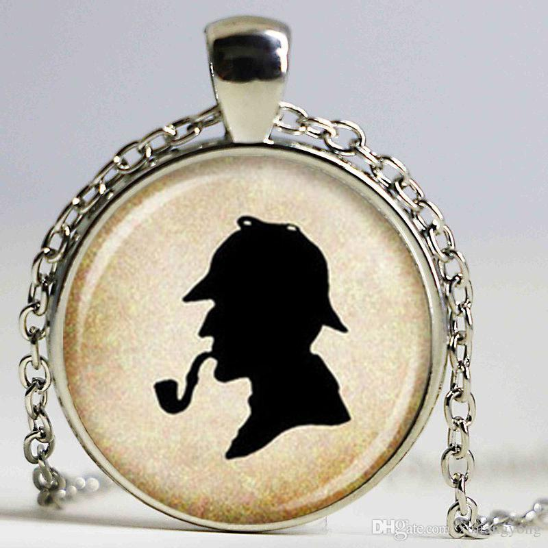 Wholesale Sherlock Holmes Silhouette Pendant Necklace Glass Jewelry Animal Gifts Silver Bracelets Silver Chain From Xujiangyong, $2.02| DHgate.Com