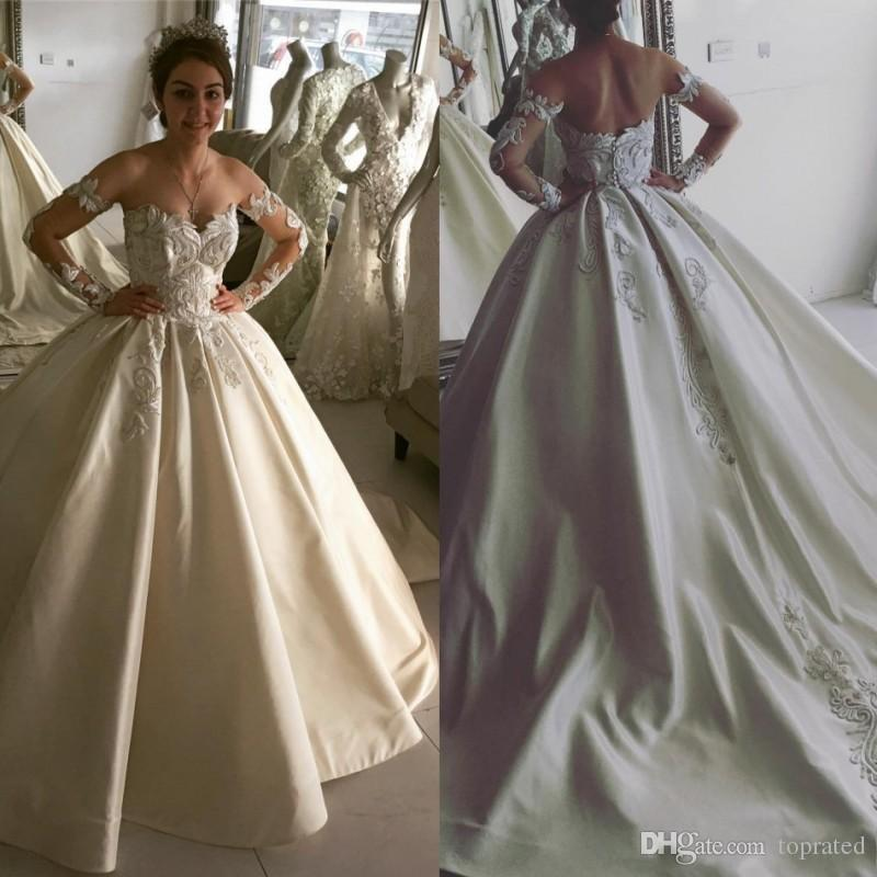 83ba5d964790 New Crystal Design Sweep Train 2017 Ball Gown Princess Wedding Dresses Off  Shoulder Long Sleeve Appliques Satin Sexy Back Wedding Gowns Wedding  Dresses Ball ...