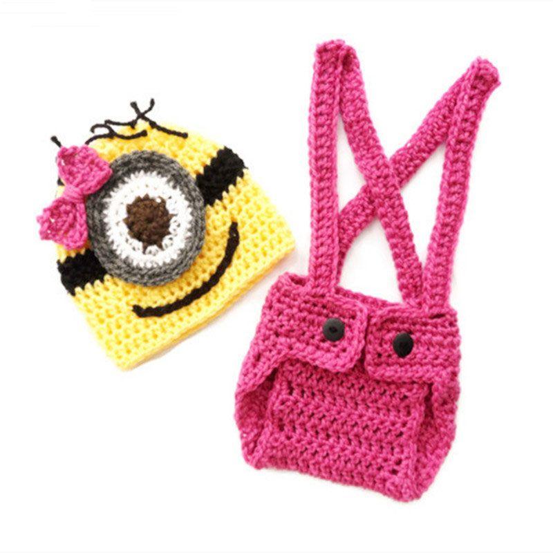 2018 Minion Despicable Me Newborn Costume Handmade Knit Crochet Baby