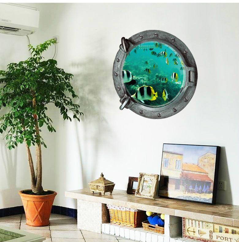 3D petits poissons stickers muraux Monde sous-marin décoration de la maison bricolage salon animaux imprimer décalques art mural affiche Toile