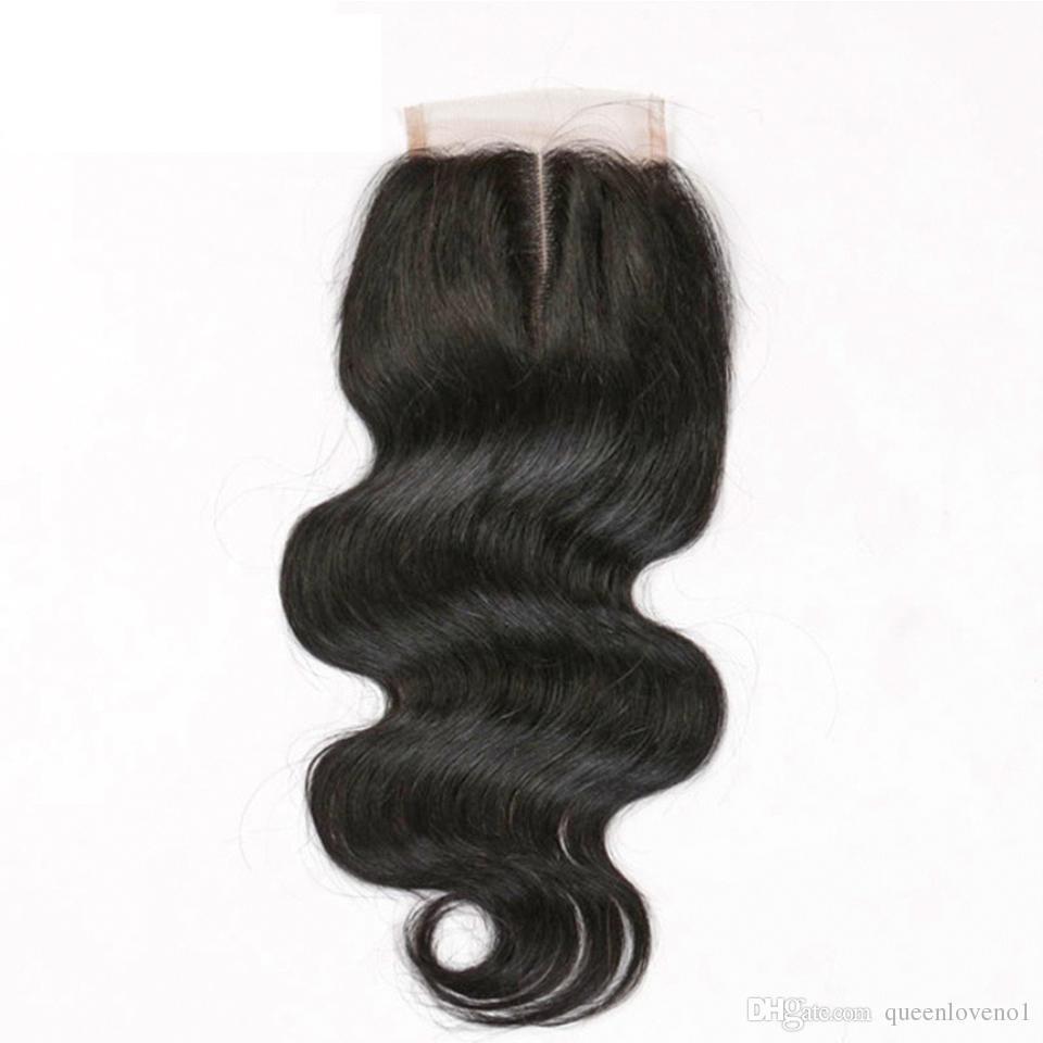 البرازيلي الجسم موجة شعر الإنسان ينسج الملحقات 4 حزم مع إغلاق الحرة الأوسط 3 الجزء مزدوج لحمة صبغة المبيض 100 جرام / pc dhl