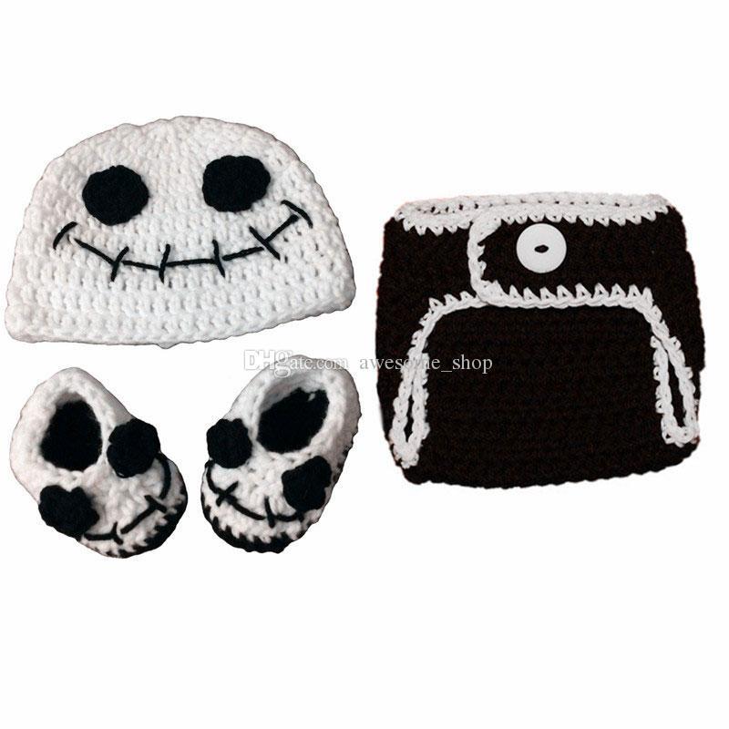 Raffreddare Newborn Jack Skeleton Costume, Handmade Crochet Baby Boy Girl Ghost Hat Pannolino Copriscarpe Set, Infant Halloween Costume Photo Puntelli