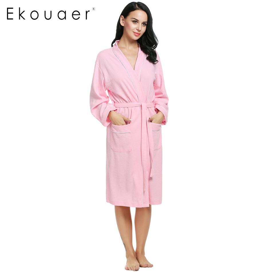 cb00a90abd 2019 Wholesale Ekouaer Cotton Women Robes Bathrobes Wedding Bridal Kimono  Robe Long Sleeve Waffle Weave Lady Spa Night Dress Sleepwear From  Volontiers