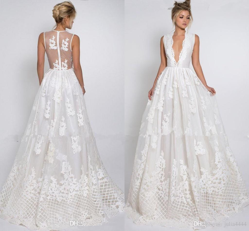 Discount 2017 Cocotte Gown Lurelly Bridal Summer Beach Wedding Dresses V Neck Lace Applique Sheer Back Gull Length Country Dress Sexy