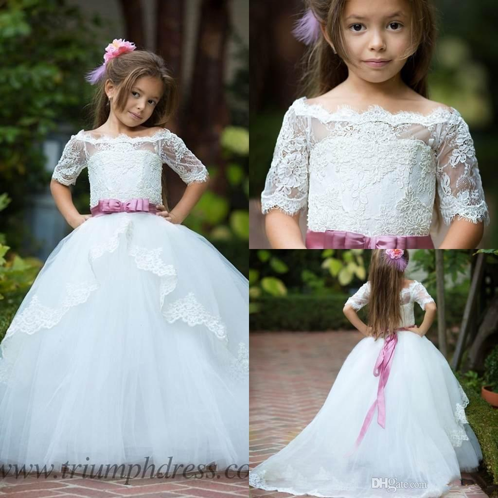 2018 Cute Bateau White Flower Girls Dresses With Sash Half Sleeves Lace  Tulle Kids Cheap Wedding Dresses Custom Made Tea Length Flower Girl Dresses  Watters ...