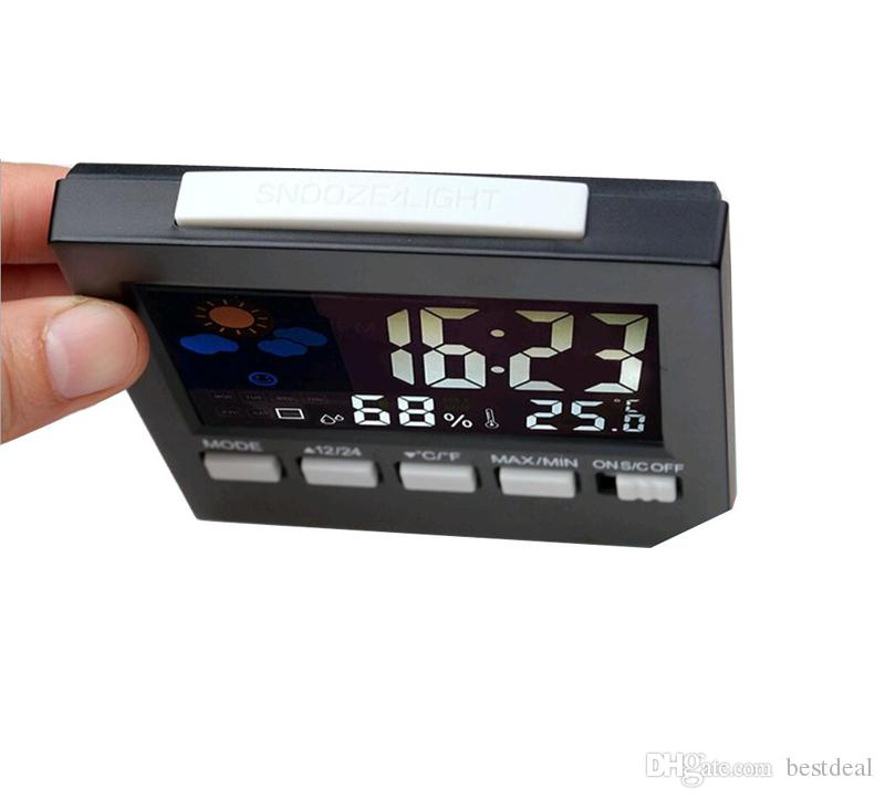 Yeni Stil Termometre Dijital Hava İstasyonu Ev Termograf Çalar Saat Çok fonksiyonlu Kapalı Termometre Higrometre Sıcak Satış HTC-1