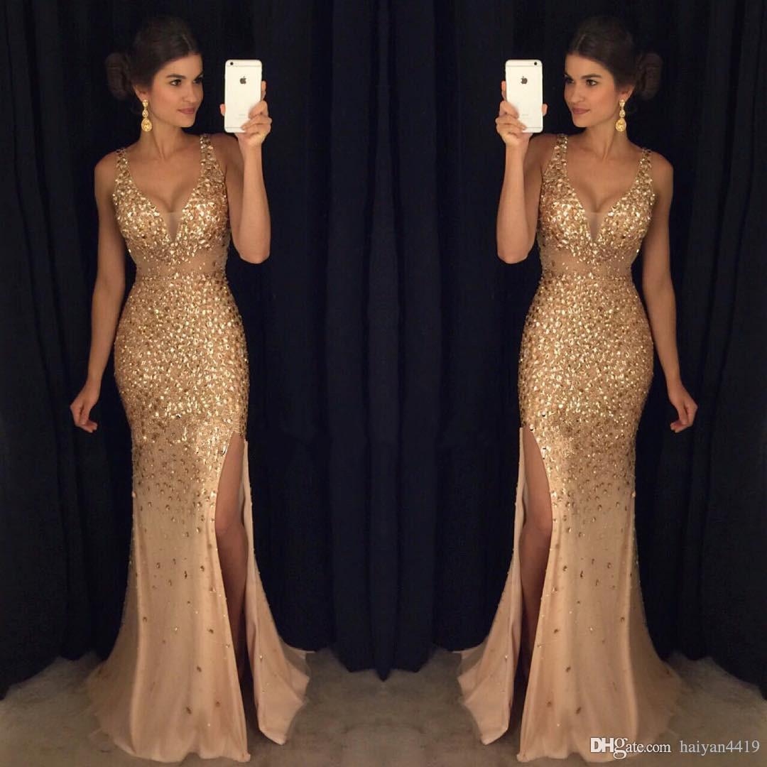 Neue reizvolles Gold Luxus Abendkleider mit tiefem V-Ausschnitt wulstiger Illusion Side Split-Nixe Tulle-Abend-Partei-Kleider formale Abend-Kleider