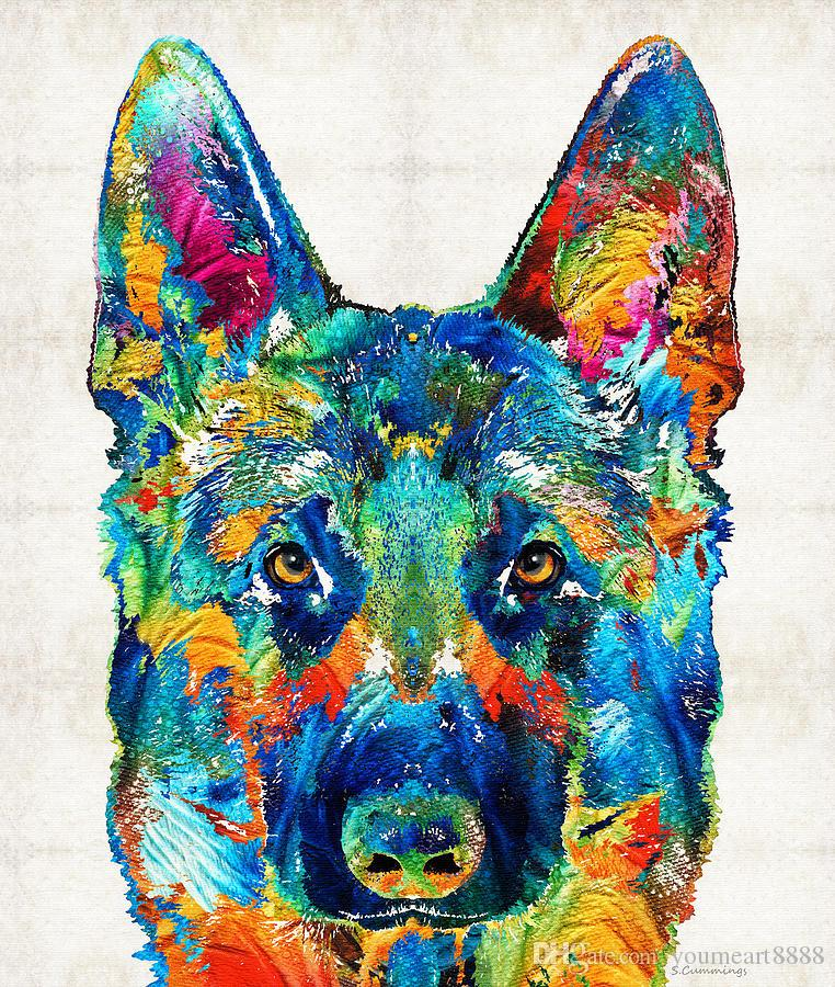 2016 New Real Chinese Writing Cloth Youme Art Colorful German Shepherd Dog Giclee Oil Painting Arts And Canvas Wall Decoration 76x90 for Cm