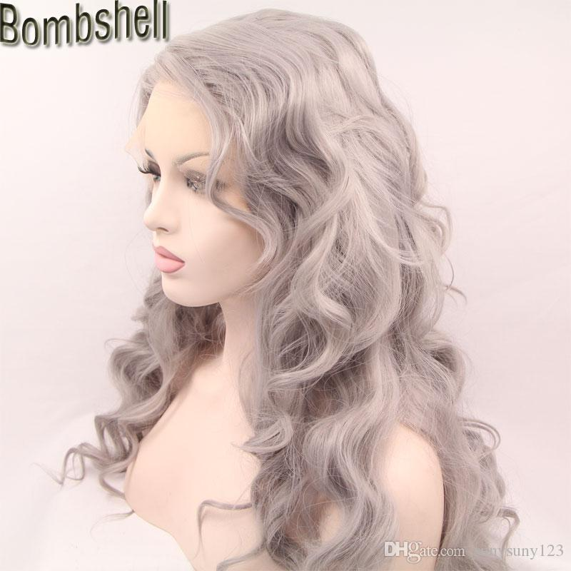 Bombshell Silvery Grey Long Body Wave Synthetic Lace Front Wig Glueless Heat Resistant Fiber Natural Hairline For Black White Women Stock