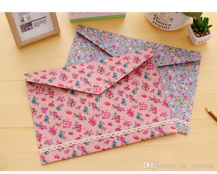 Cobertor de Pano Floral Arquivo Bolso Pano Saco de Documento A4 Arquivo de Tamanho de Armazenamento De Papel De Bolso Organizador Para A Escola Escritório 77