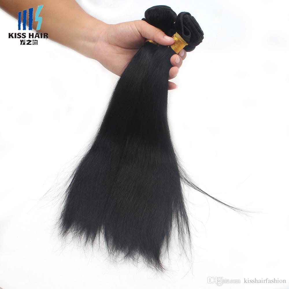 3 Bundles Raw Virgin Indian Silky Straight Hair Weave Cheap Color 1B Black Brazilian Malaysian Peruvian Cambodian Chinese Human Hair Weft