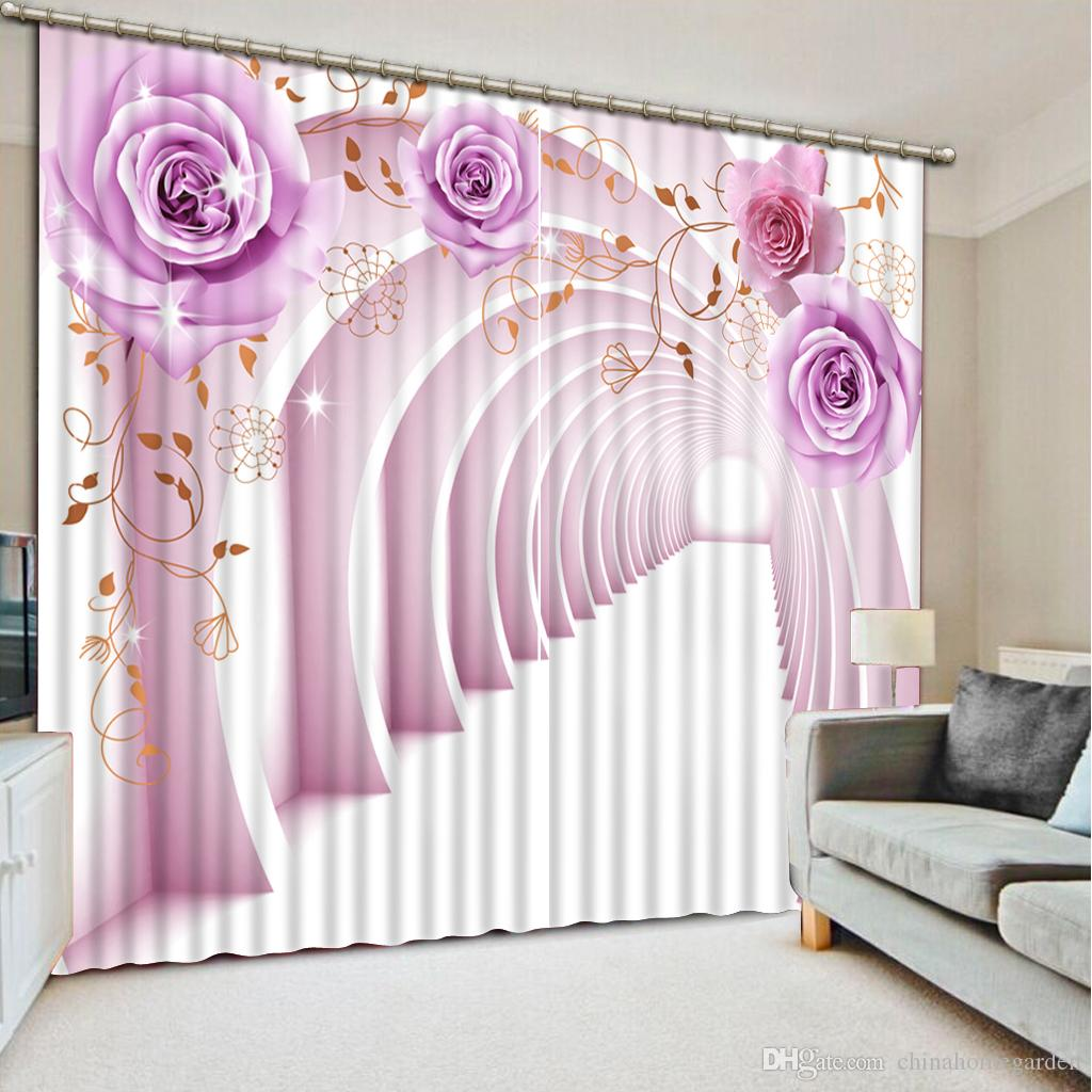 Top Classic 3D European Style Photo Customize Size Purple Flower Roses 3d  Curtain Fashion Decor Home Decoration For Bedroom Inexpensive Purple  Curtains For ...