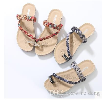c4c3c500fc483 Flip Flops Sandals Rhinestone Shoes Bohemian Rhinestone Shoes Sandals Shoes  Braid Leisure Snkle Strap Flat With Summer Shoose Ladies Shoes Red Shoes  From ...