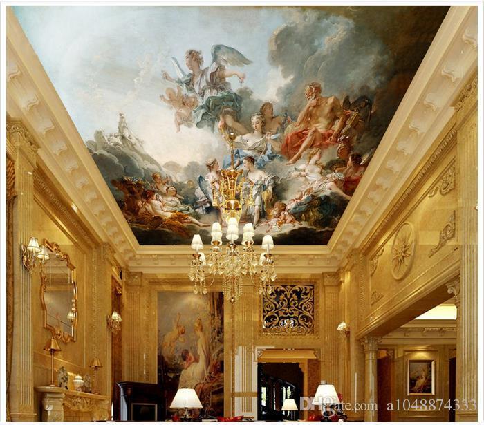 De haute qualité sur mesure 3D papier peint des peintures murales de papier peint plafond Ou Shigu zénith anges et des fées peintures murales de plafond papier peint chambre décoration