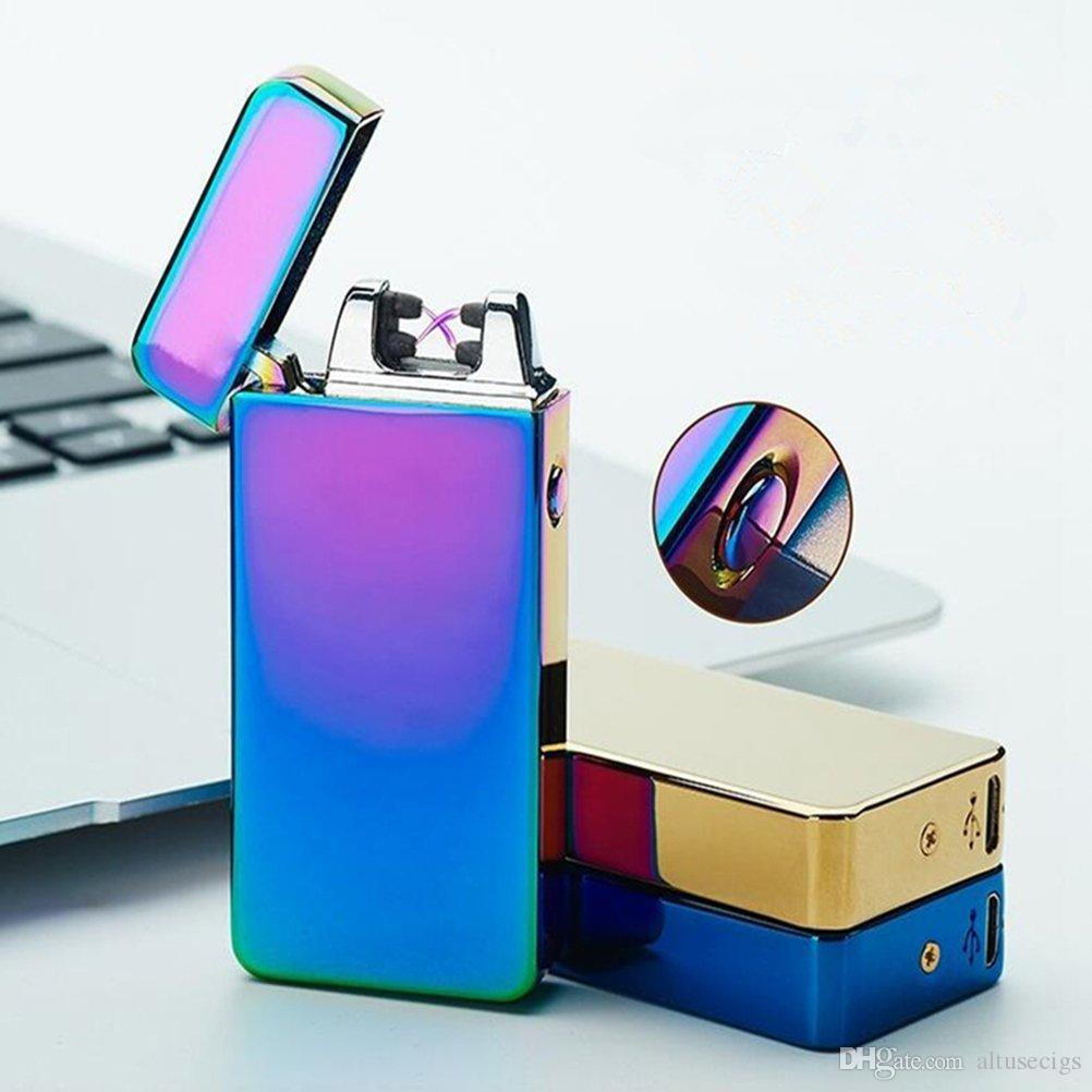 Double Arc USB Rechargeable Flameless Windproof Electronic Cigarette Lighter Plasma Torch Dual Arc Electric Flameless Cigarette Lighter