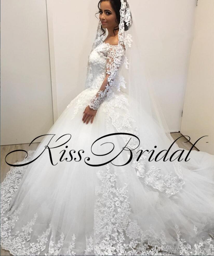 Großhandel Dubai Prinzessin Ballkleid 2018 Brautkleider Long Sleeves ...