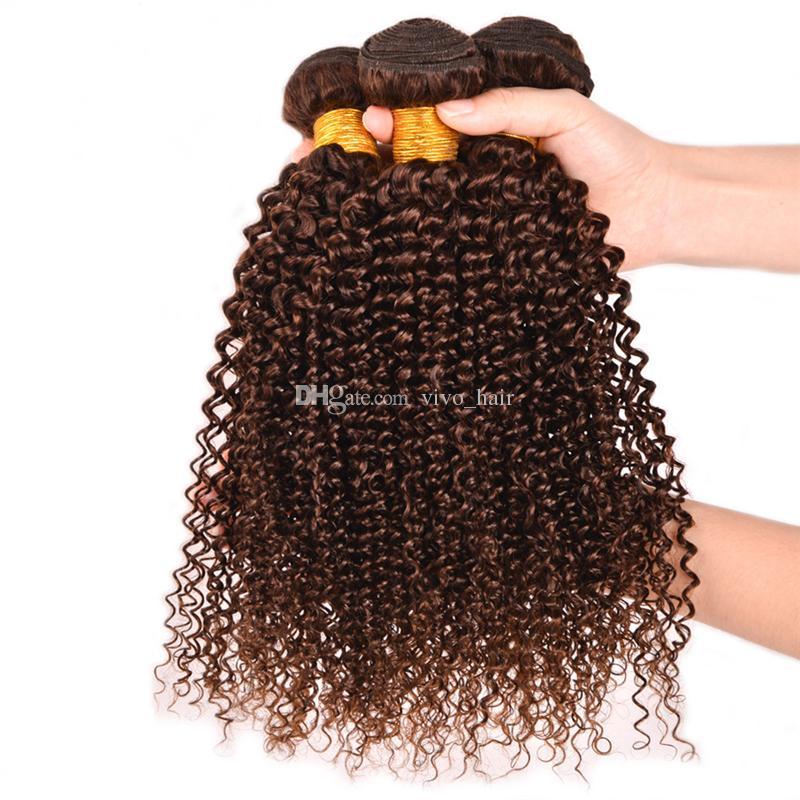 8A brasilianisches verworrenes gelocktes reines Haar 3 Bündel # 4 hellbraunes gelocktes Menschenhaar spinnt 3 Teile / los Kastanienbraune Haarverlängerungen