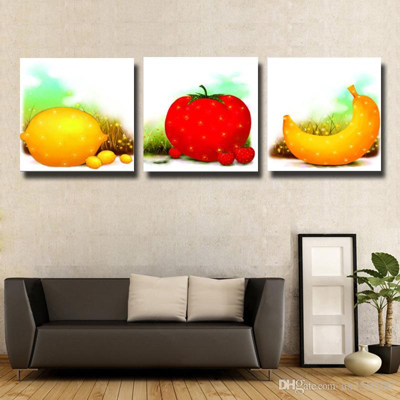 2018 Apple Banana Lemon Canvas Print Painting Modern Canvas Wall Art ...