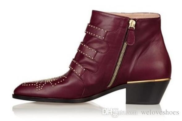 2017 novas botas de veludo beading botinhas tornozelo ponto toe botas sapatos de vinho tinto botas de couro fivela bota baixo calcanhar