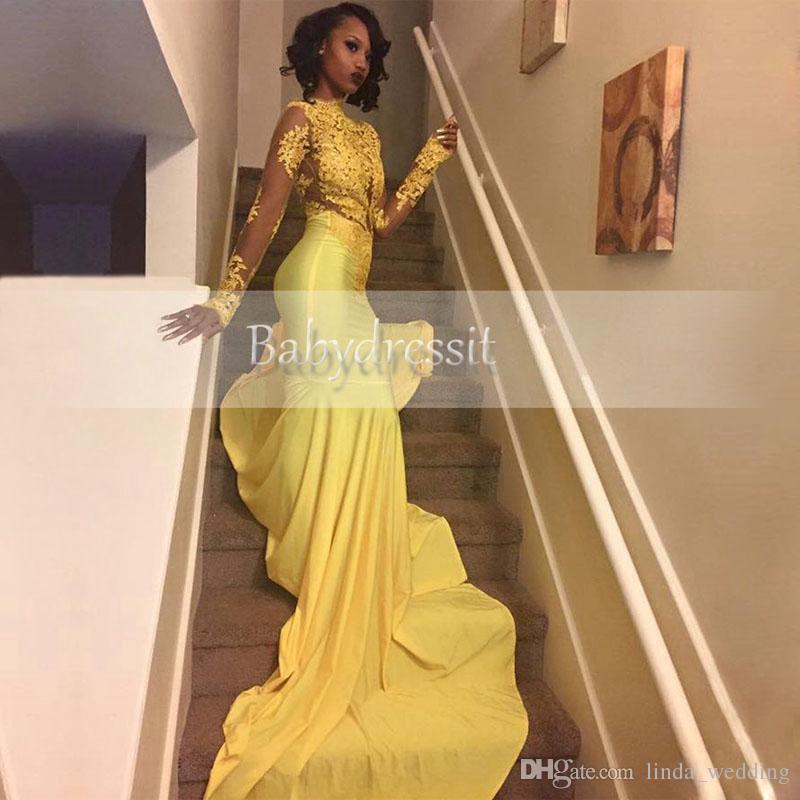 2019 Assez Jaune Africain Dentelle Appliqued Robe De Soirée Sud Africaine Sirène Manche Longue Banquet Robe De Fête Sur Mesure Plus Taille