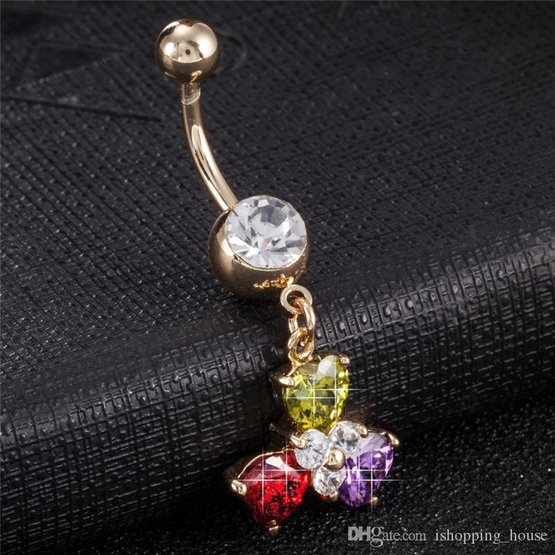 Women's Multicolour CZ Flower Pendant Navel & Bell button Rings Trendy Crystal Belly Ring For Girls Women BR-204