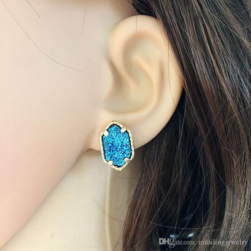 Musiling Takı Karbon Taş Küpe Damızlık Geometrik Küpe Kadınlar Için Altın Bakır Takılar Kulak Aksesuarları Takı Hediyeler