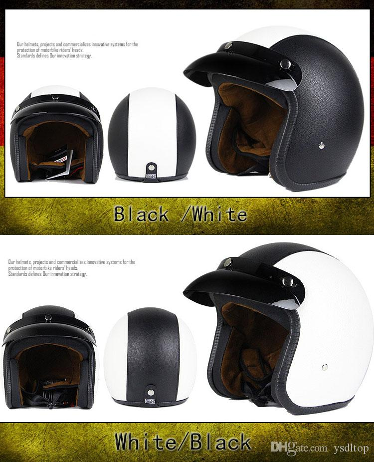2017 Women and Men ABS Shell Vintage Open Face Helmet With Goggle Mask Retro Motorcycle 3/4 Helmets For Adults XXL Dot Approved