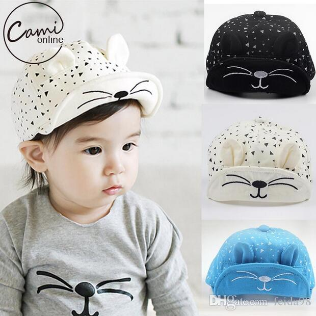 b46e275659d 2019 Baby Cartoon Cat Hat Kids Baseball Cap Palm Newborn Infant Boy Girl  Beanies Soft Cotton Caps Infant Visors Sun Hat G596 From Feida98