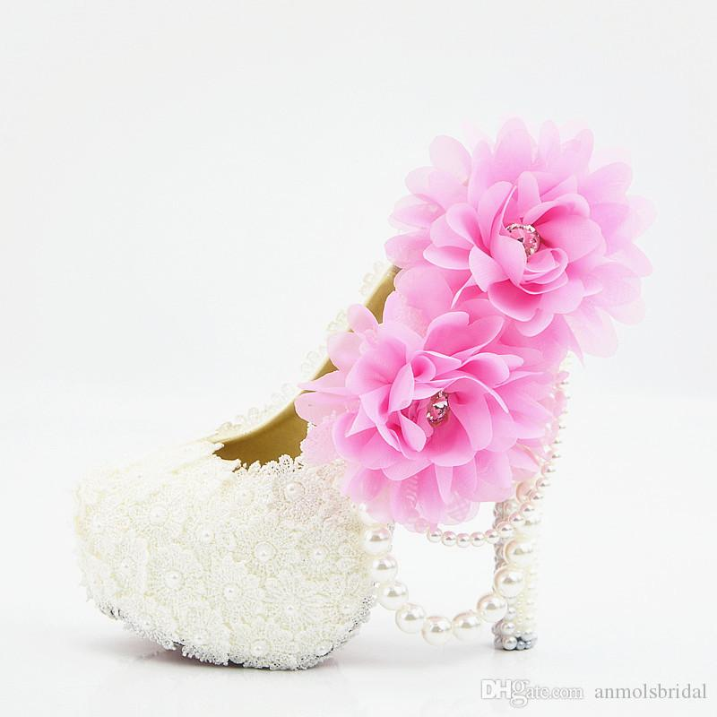Plus Size Lace Pearls Pink Flower Sexy Prom Evening Shoes Cinderella Shoes Hand-made Bridal/Bridesmaid Shoes Nigh Club Party High Heels 219