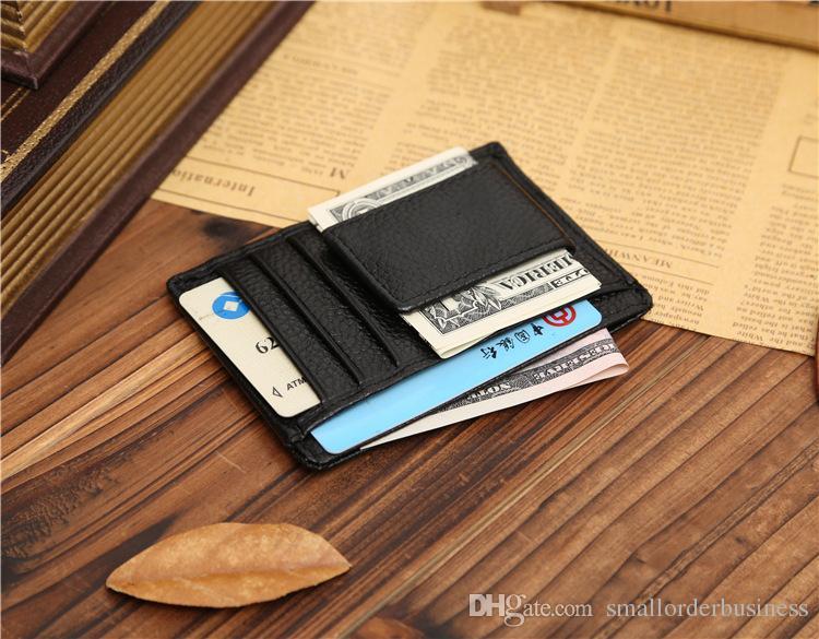 Clip de dinero Abrazadera de cartera de cuero para hombres de diseño de dinero Clip de cuero de marca para titular de tarjeta de crédito de dinero MOQ 3 PIEZAS