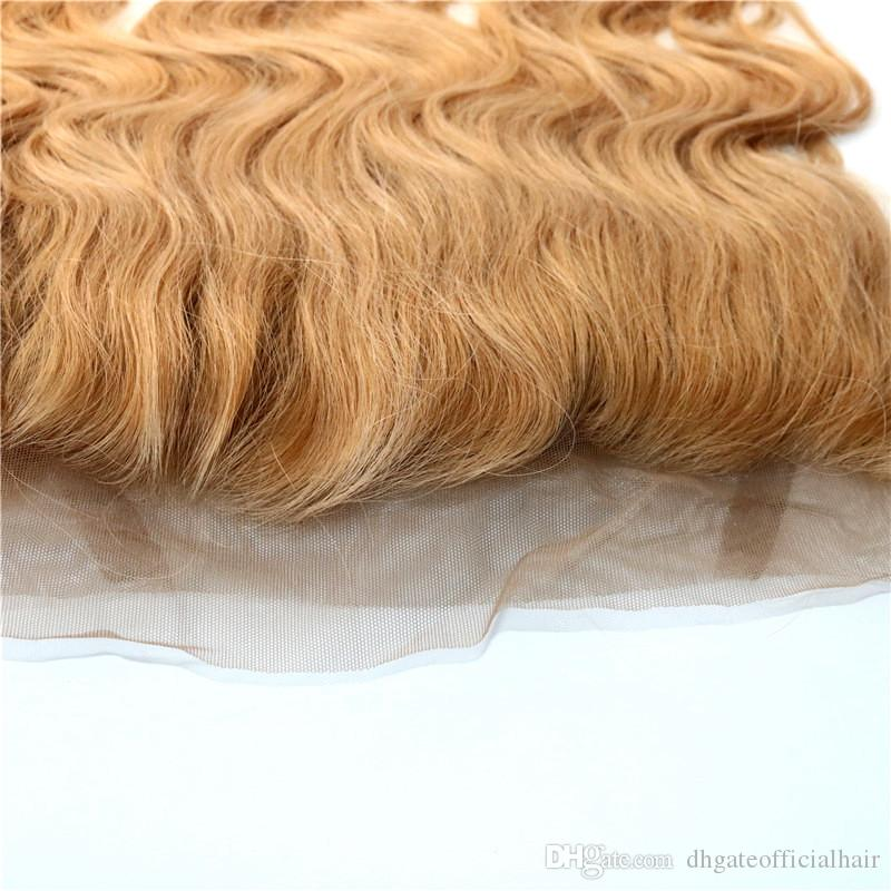Color #27 360 closure hair extensions lace frontals Peruvian virgin hair striaght 360 lace frontal Wholesale