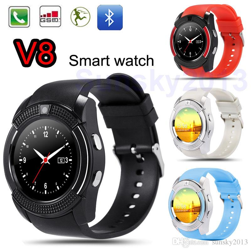 Smart Watch V8 Bluetooth Smartwatch Phone SIM 0.3M Camera Round Dial Sports Wrist Watches for Android iOS Fitness Tracker Wholesale DHL Ship