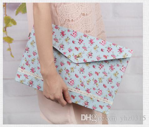 Elegant cloth A4 files bags garden buttons files bags envelope Document bag Stationery Office School Supplies
