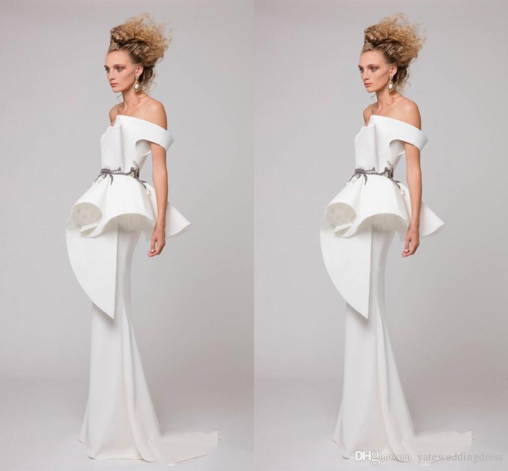Off deve branco vestidos de noite da arábia saudita sereia estilo peplum drapeado vestidos de baile de volta zipper sweep trem custom made vestidos de festa 2017