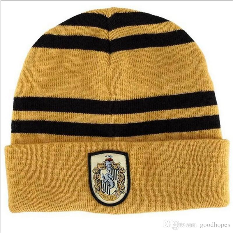 Harry Potter Cap Scarf Suit Beanie Skull Caps Hats Scarves Set Cosplay  Costume Caps School Striped Badge Hats Students 4 Styles For Sale Online  with ... 29ab2b095b6