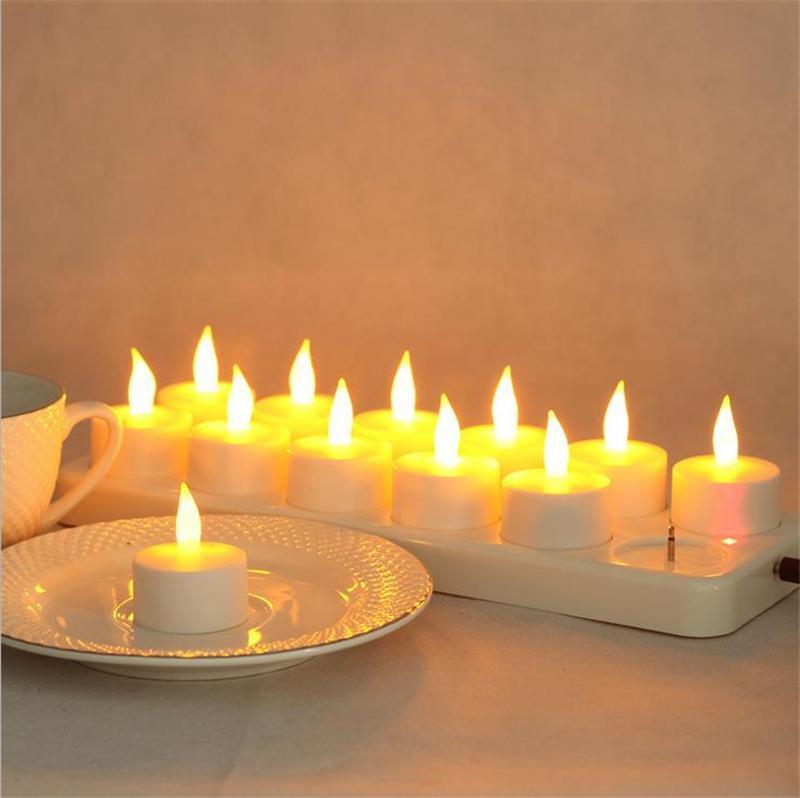 12 stücke LED Wiederaufladbare Flammenlose Kerze Licht Wachslose Sichere Simulation Romantische Geburtstag Hochzeit Kirche Bar Decor Lampe