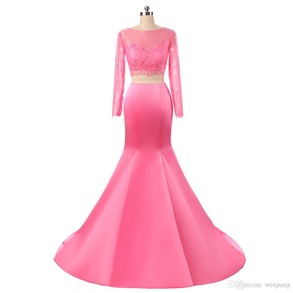Compre 2017 Hot Pink De Dos Piezas De Encaje Blusa Vestido De Fiesta ...
