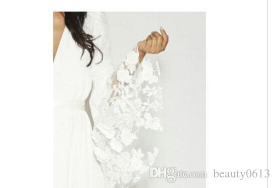 2017 Summer Beach BOHO Wedding Dresses Bohemian Beach Vinatge Bridal Gowns with Long Sleeves Lace Flower Custom Plus Size Custom Made