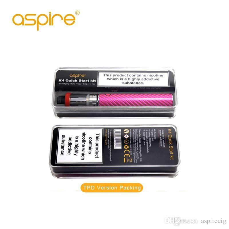 Original Aspire K4 Quick Starter Kit 2000mah Bottom Vertical Coil Aspire Vape Pen Vaporizer E Ciggarette Start Kit Vape start kit