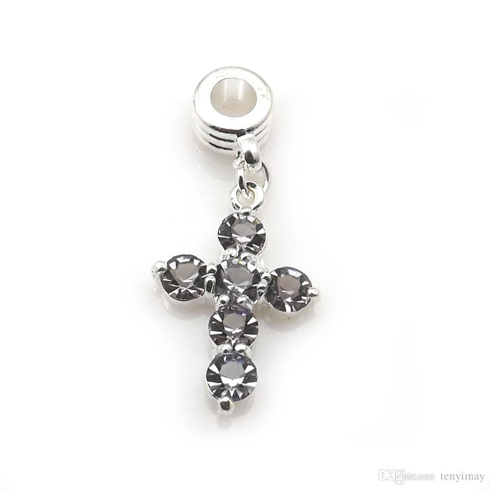 24 unids / lote cruz cristalina forma diapositiva collar colgante multicolor Rhinestone encanto para DIY envío gratis