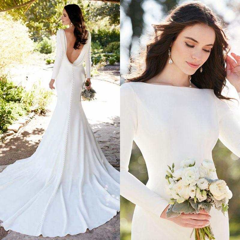Elegant Silk Wedding Dresses With Sleeves: 2017 Elegant Bateau Long Train Country Bridal Dresses