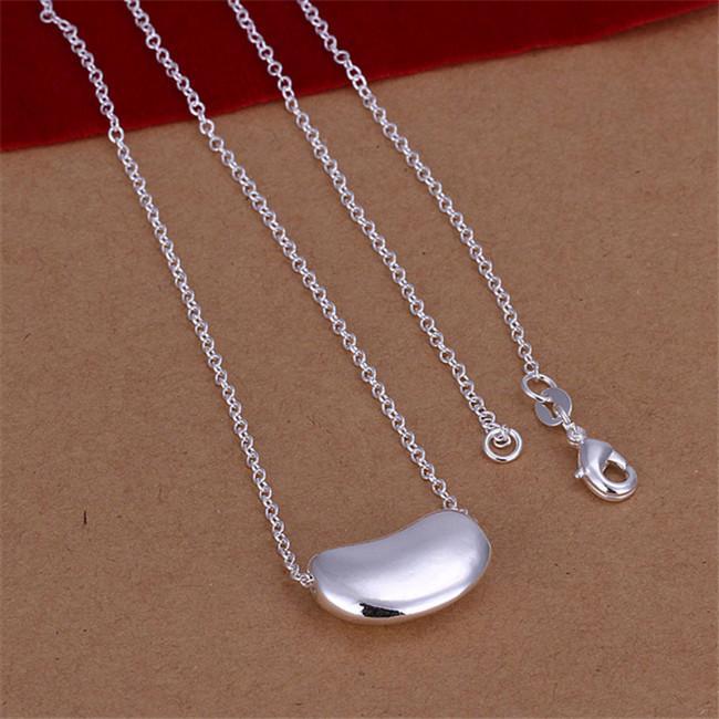 Hochzeit Sojabohnen versilbert Schmuck Halskette für Frauen DN108, Hochzeit 925 Silber Anhänger Halsketten mit Kette