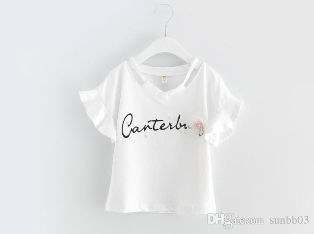 Nouveau Summer Girls Robe Ensemble Bébé Enfants Lettres Coton Tshirt + Broderie Fleur Dentelle Tulle Jupe Tulle Vêtements Vêtements Enfants Tenue 13031