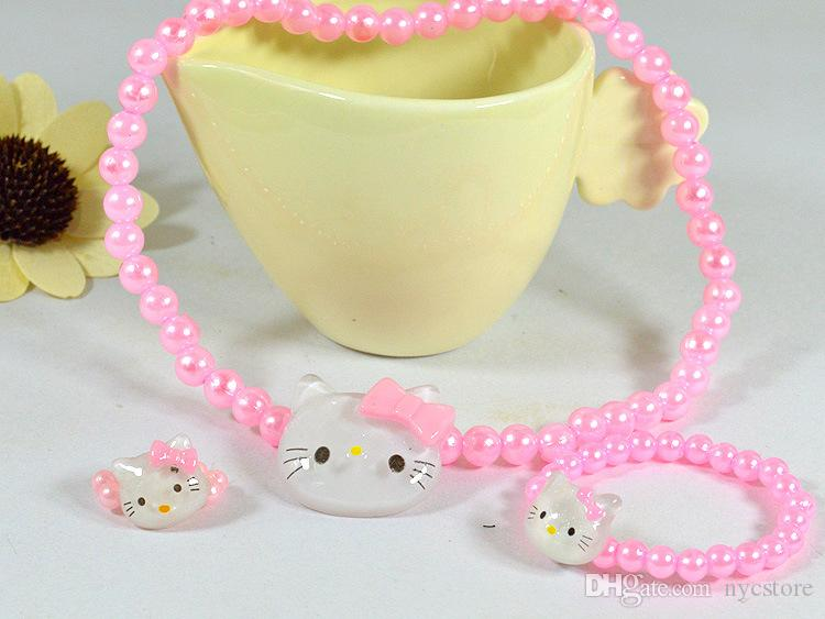 Kids Baby Girl's Lovely Imitation Pearls Hello Kitty Necklace/Bracelets/Ring/Crystal Cat Children Jewelry Sets