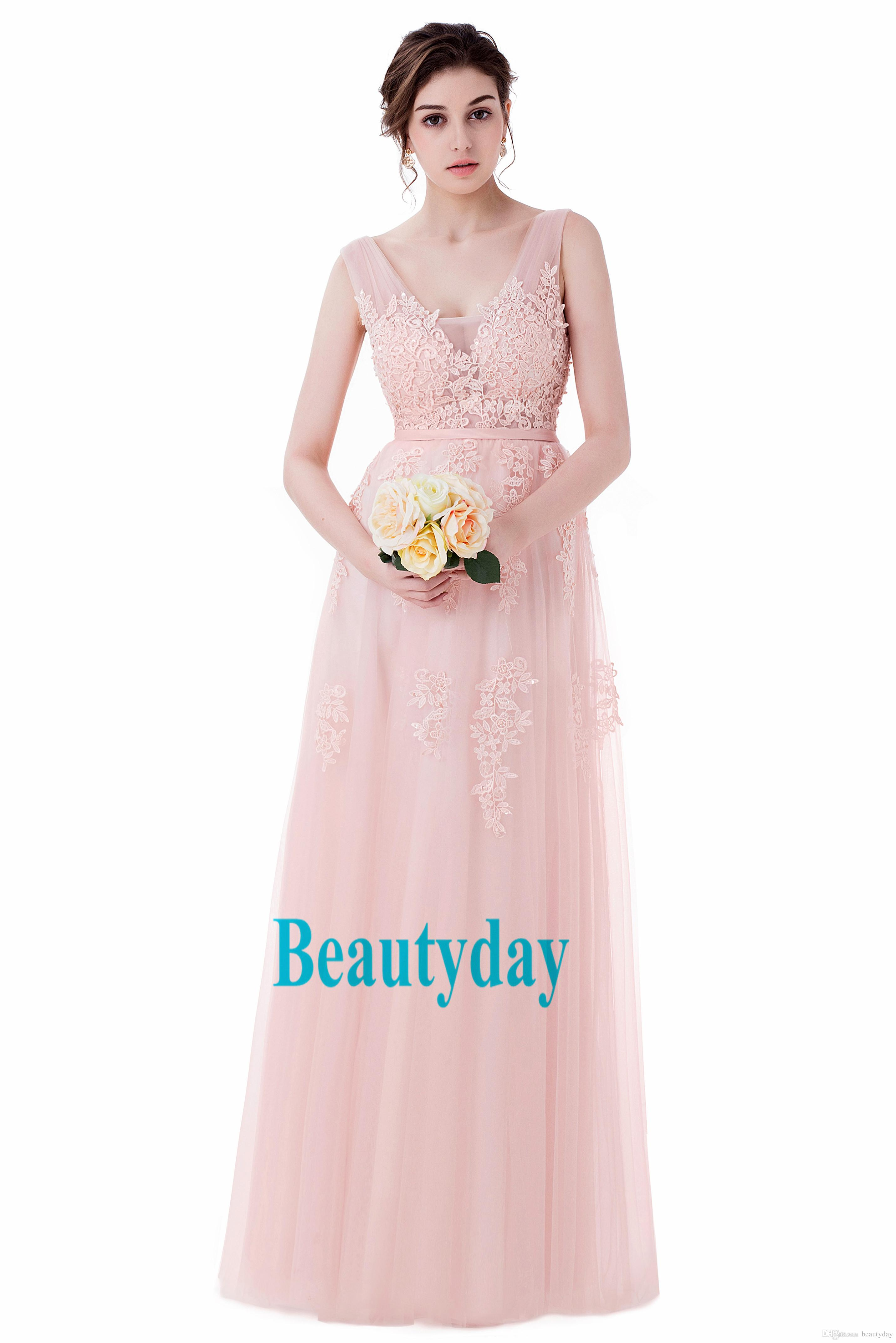 Elegantes vestidos de fiesta Vestido de fiesta del desfile 2019 Vestido formal de mujer con una línea de vestidos de cuello en V espalda abierta Rosa Borgoña encaje de plata en stock