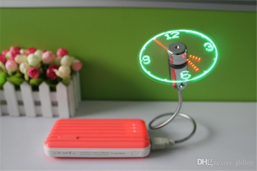 Mini USB LED Fan Saat Ekran Yanıp Sönen Zaman USB Saat Fan PC Dizüstü Güç Banka Şarj Için ith Saat Ile USB Alet