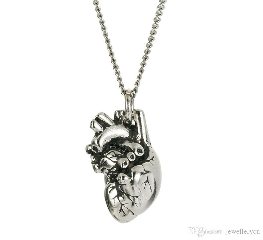 Rostfritt stål silverpolerat litet enkelt 3d anatomiskt hjärta halsband maxi långkedja halsband smycken för kvinnor NL25846