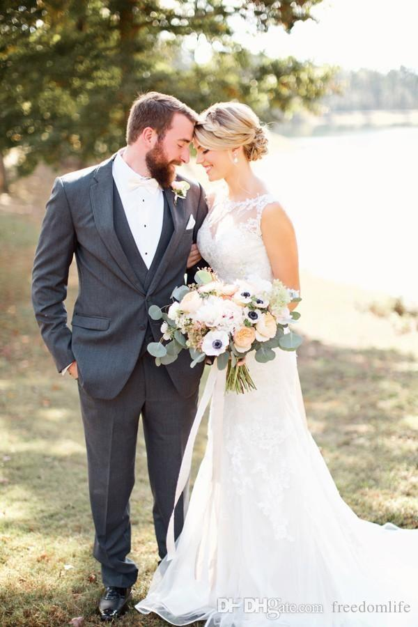 Stunning 2017 Country Wedding Dresses Mermaid Sheer Scoop Neck Sleeveless Lace Appliques Modest Bridal Gowns Sweep Train Beaded Sash
