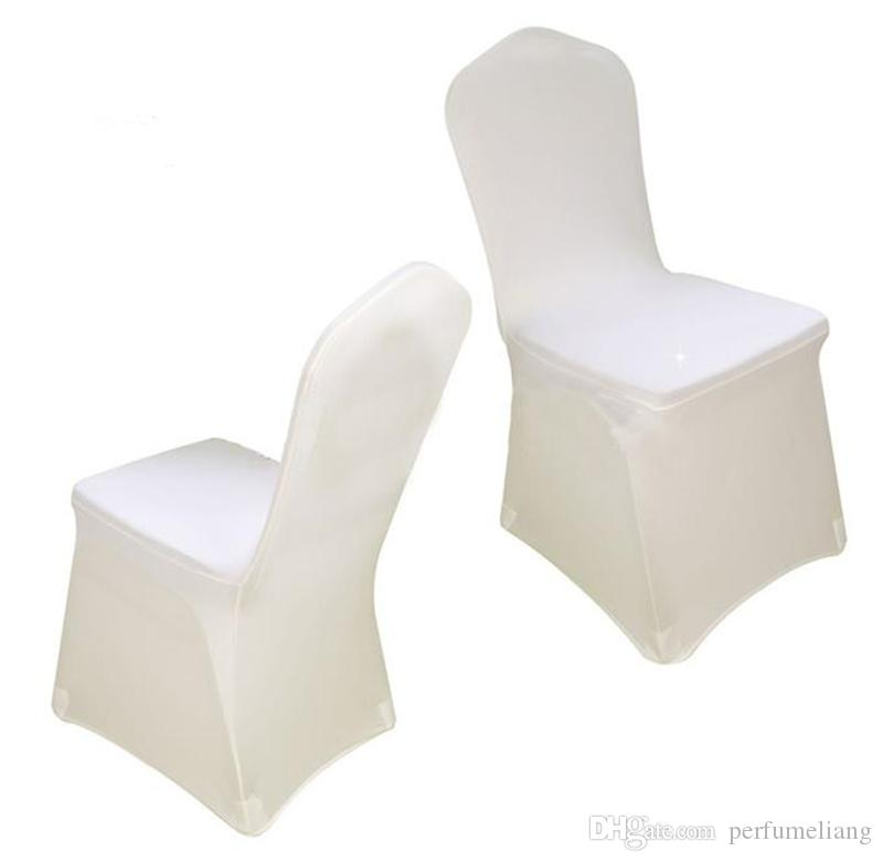 Wolesale hotel hotel chair cover wedding wedding pure color with thick white elastic high-end banquet chair cover JF-610