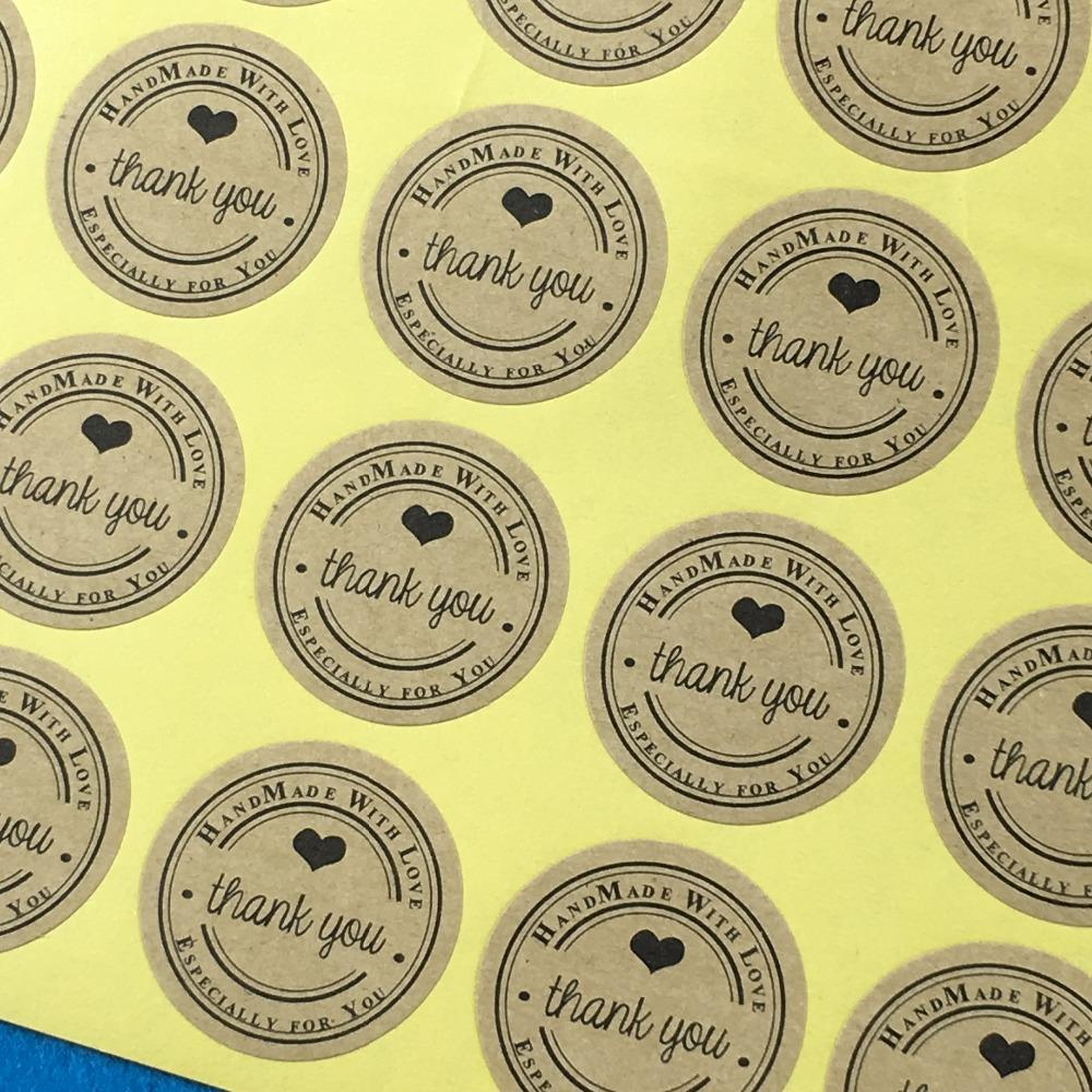 2019 wholesale free ship 3cm kraft round thank you label packaging stickers scrapbook sealing handmade paper sticker labels from kingflower